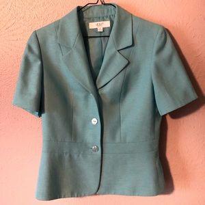 Le Suit Light Blue 2 Piece Skirt & Blazer Suit Set